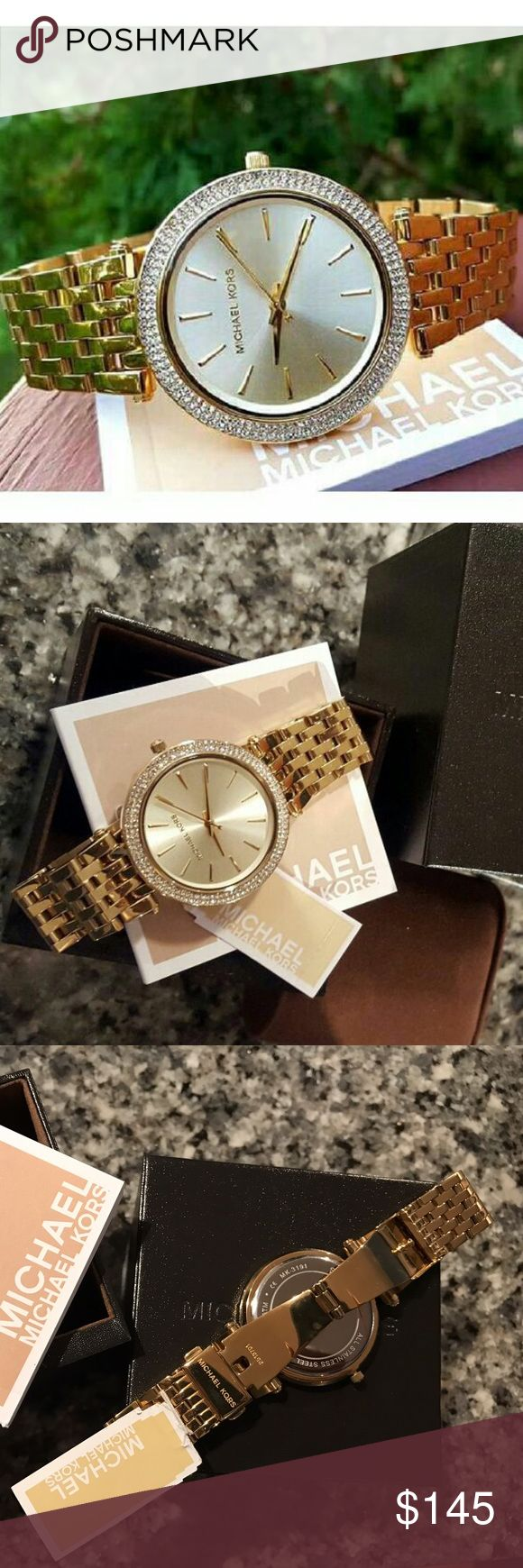 New Michael Kors Darci gold bracelet watch MK3191 LAST 1! Guaranteed authentic MK3191  Retail: $250  Model: Darci  Destination Glam Gold stainless steel  New with Michael kors watch box and owners booklet included  39mm case  5 ATM  UPC: 691464950248  No trades. Buy now or offer only.                               Same business day shipping Michael Kors Accessories Watches