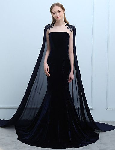 Mermaid   Trumpet Jewel Neck Court Train Chiffon Velvet Formal Evening Dress  with Beading Lace by SG 4b808893c