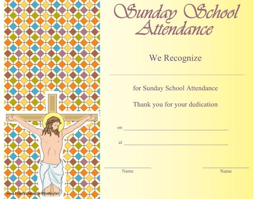 This Printable Certificate Showing Jesus On The Cross Is To Be Presented In  Honor Of Attendance  Attendance Certificates Printable