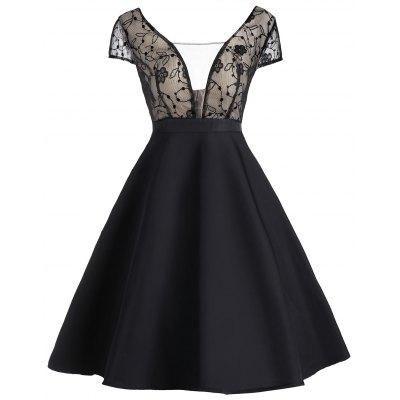 #GearBest - #Gearbest Vintage Lace Panel See Thru Dress - AdoreWe.com