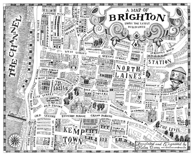 A hand drawn map of Brighton