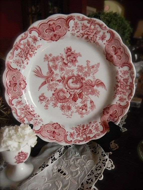 Red transferware by Ridgway in the Windsor Pattern.