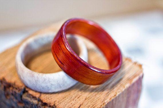Padauk Vermilion Bent Wood Ring by TrinketsAndTinkering on Etsy, $58.00