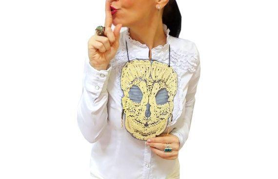 Golden Lace Skull Necklace Halloween Tops Skull by HAREMDESIGN
