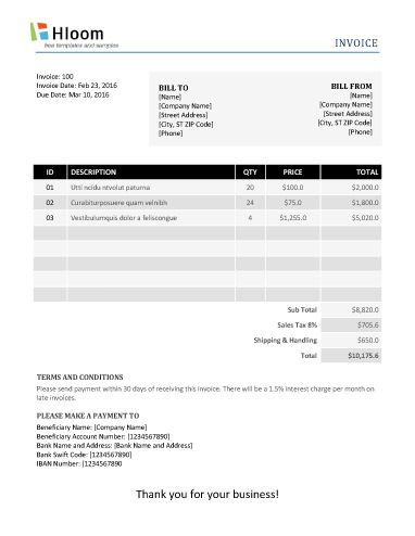 152 best Invoice Templates images on Pinterest Invoice template - invoice bill