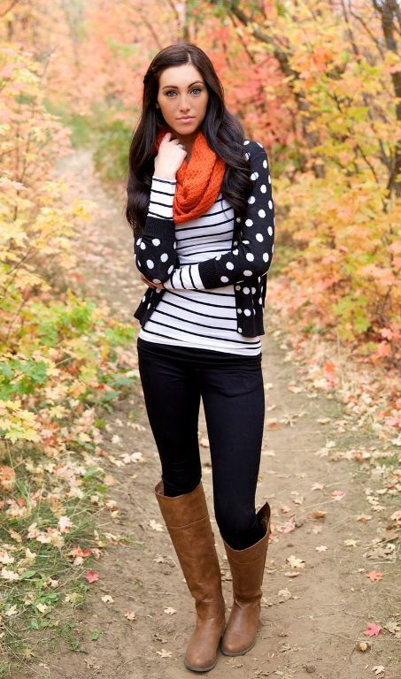 striped tee with polka dots cardigan, Winter outfits ideas in pop colors http://www.justtrendygirls.com/winter-outfits-ideas-in-pop-colors/