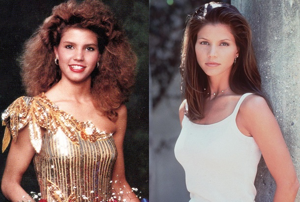 Charisma Carpenter in High School in 1988, and Charisma Carpenter Playing a High School Student in 1998