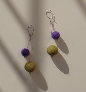 felt bead earrings