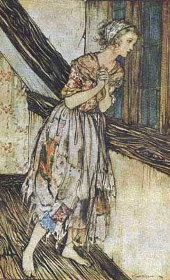 "Arthur Rackham's Cinderella (Evans, C. S. Cinderella. Arthur Rackham, illustrator. Philadelphia: Lippincott; London: Heinemann, 1919.) """"Cinderella"", or ""The Little Glass Slipper"", is a folk tale embodying a myth-element of unjust oppression/triumphant reward. Thousands of variants are known throughout the world."" Wikipedia"