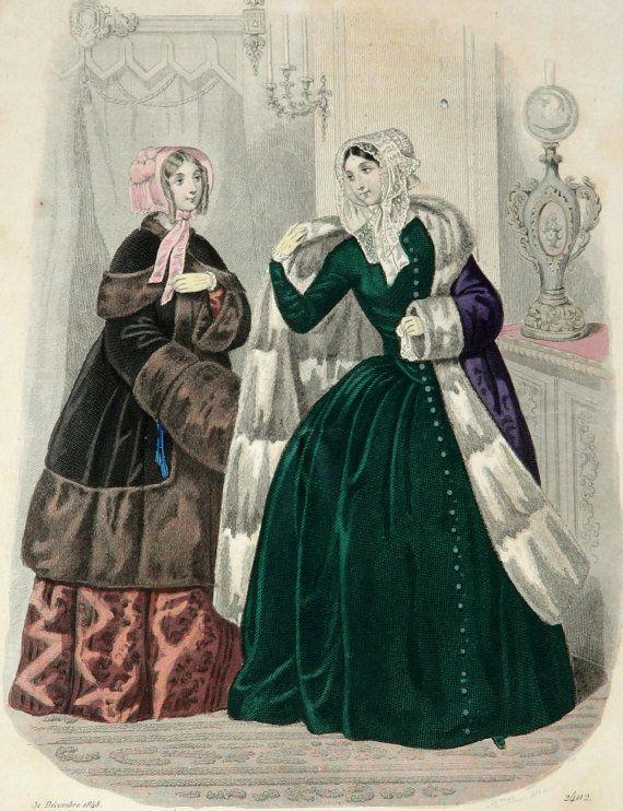 Litografia di moda d'epoca 1848: due signore di AntiquePrintsOnly