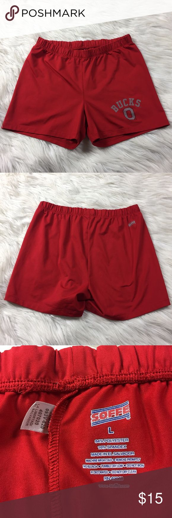 """•• The Ohio State • Red Bucks Soffee Shorts Great little Soffe shorts. Only worn a handful of times. These are perfect for running, cycling, working out, cheerleading, tennis, or any activity you need range of motion.  Measurements(approx.) Length: 10.5"""" (Fully elastic waist) Waist: 11.5""""  Comes from a smoke free pet free home. (LLR0-0133) Soffe Shorts"""