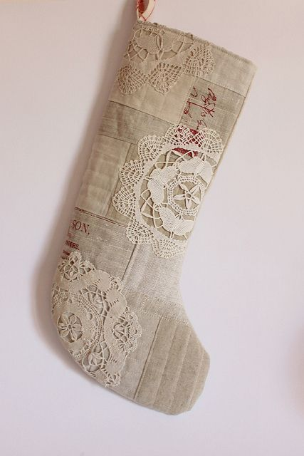 Christmas stocking linen patchwork vintage doilies