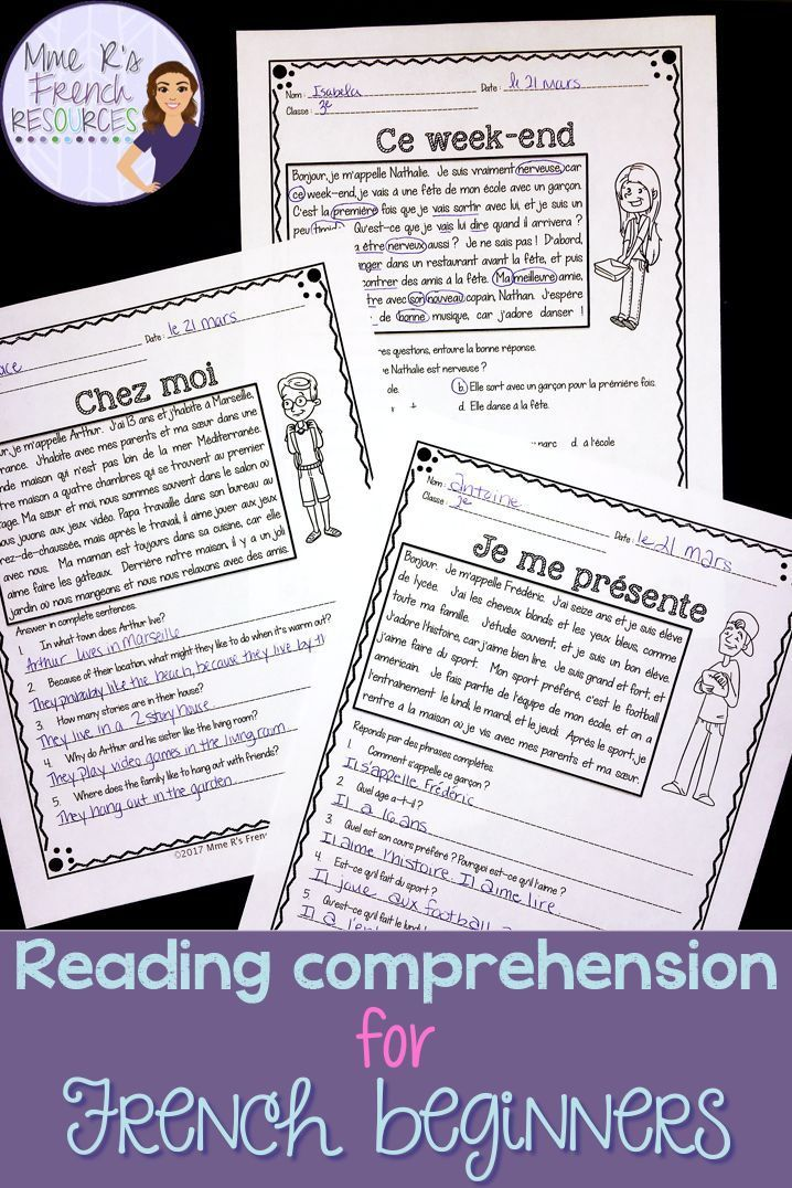 These 10 French reading passages are the perfect way to get your beginning French students reading. Each passage includes 3 versions of the student question sheets. Each reading passage is the same, but the questions vary based on the version you choose. Use an all-French version, a version with English questions, or a multiple choice response sheet. Perfect for middle school and high school French. Click here to see more!