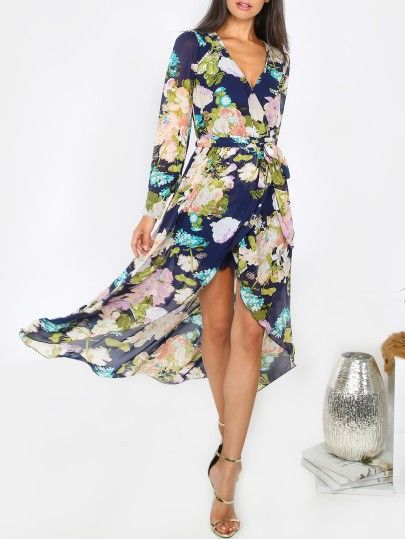 Langarm Maxi Kleid 2017 mit Blumenmuster Marineblau