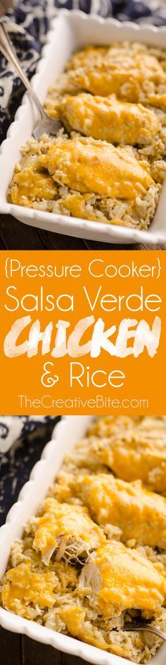 Pressure Cooker Salsa Verde Chicken & Rice is a quick and easy dinner recipe made in your Instant Pot in less than 30 minutes! Zesty rice is topped with cheesy chicken breasts for a one-pot meal the whole family will love. #InstantPot #PressureCooker #Chicken