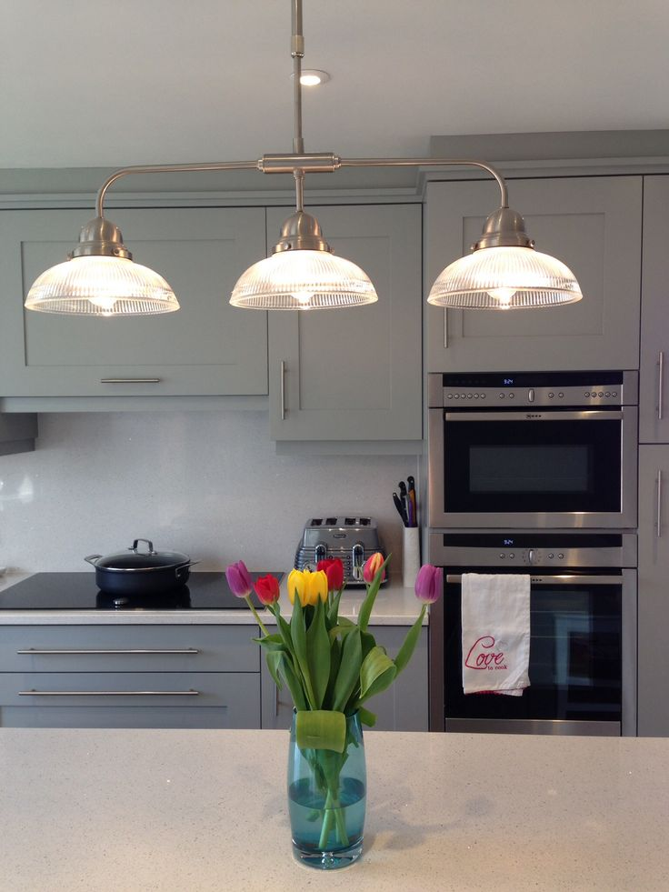 Kitchen units in 'Lamp Room Gray' by Farrow and Ball