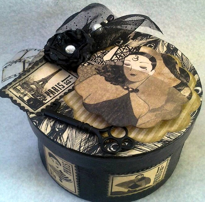 My first altered box using Graphic 45 Curtian Call Papers #alteredbox #mixedmedia #graphic45