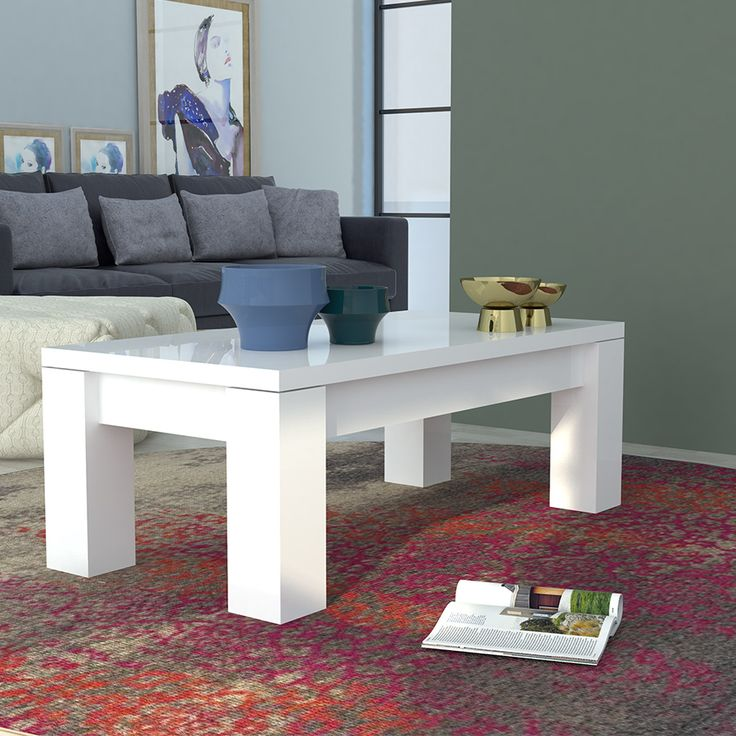 Table basse blanc laqué brillant design NOVELA