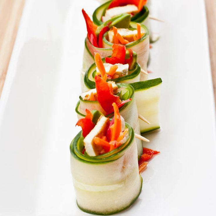 Sushi-Like Cucumber Rolls w/ Ponzu Dip #vegan #tofu