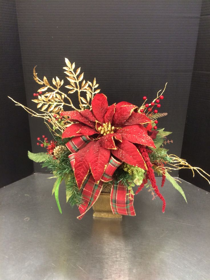Red poinsettia custom floral by Andrea for Michaels Round Rock