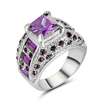Lady/Women's Silver 14KT White Gold Filled Amethyst Wedding Ring Gift size 8 | Jewelry & Watches, Fashion Jewelry, Rings | eBay!
