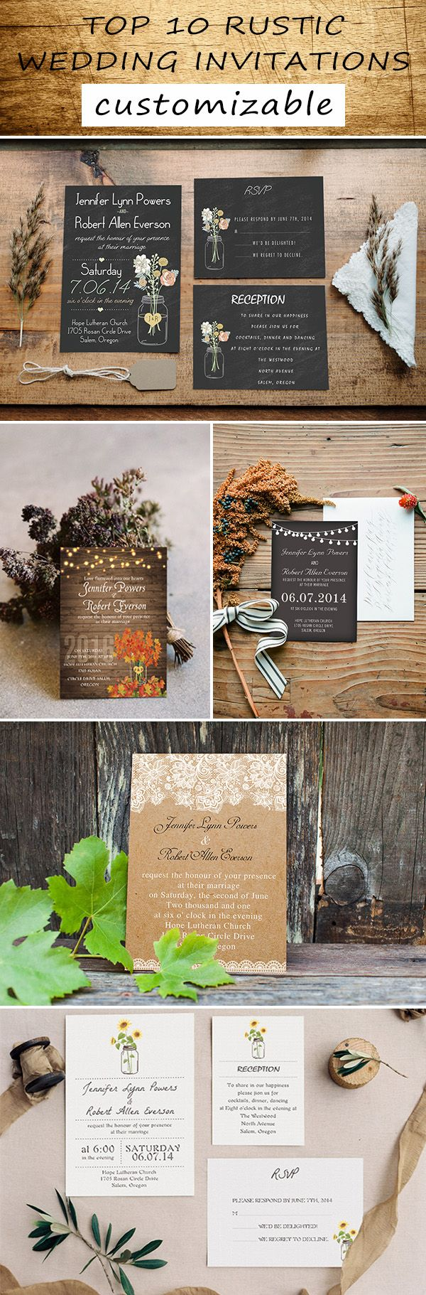 most popular country rustic wedding invitations with