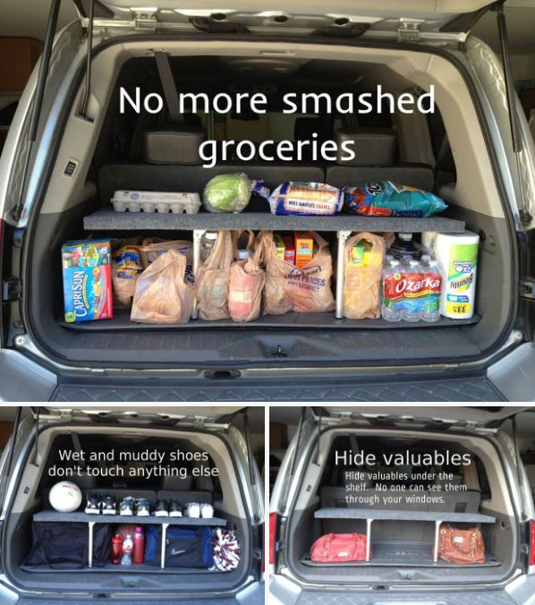 Go all-out and build a pop-up shelf for your SUV to keep your groceries safe.