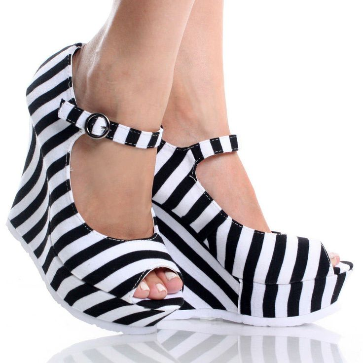 sepatusekolah: Black And White Wedges Shoes Images