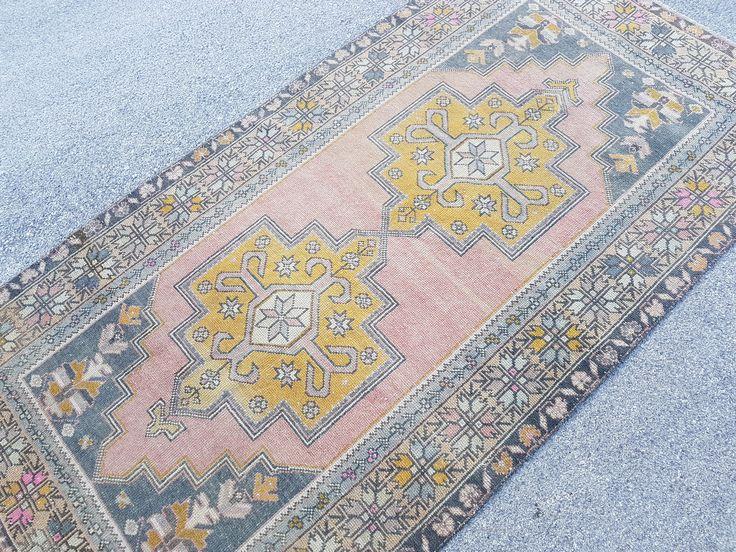 """4'4""""x8'6"""" - Pastel Oushak RUG,Anatolian Rug,Size: 135 x 262 cm,Vintage Turkish Rug,Kitchen Rug,Low Pile Rug,Distressed Turkish Rug by VintageRugBoutigue on Etsy https://www.etsy.com/nz/listing/532450530/44x86-pastel-oushak-ruganatolian-rugsize"""
