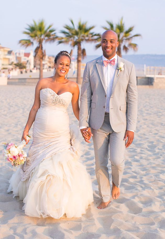 Brides: One Couple's Natural Seaside Wedding in Hermosa Beach, CA