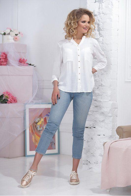 e2eda3d55f55 Белая тонкая женская рубашка из хлопка | БЛУЗЫ, РУБАШКИ в 2019 г ...