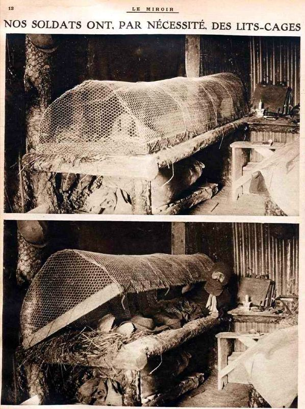 WW1, Le Miroir, Anti-rat trench bed.