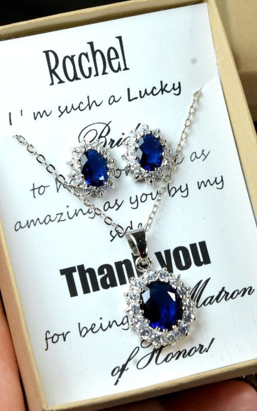 20%OFF Navy blue,sapphire blue Wedding Jewelry Bridesmaid Gift Bridesmaid Jewelry Bridal Jewelry tear Earrings necklace SET,bridesmaid gift