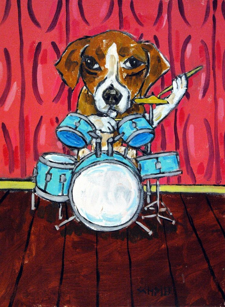 Beagle drums percussion music room decor dog signed art print. Print is a giclee meaning computer generated print Made with the Finest archival Heavyweight Matte Paper and Inks.