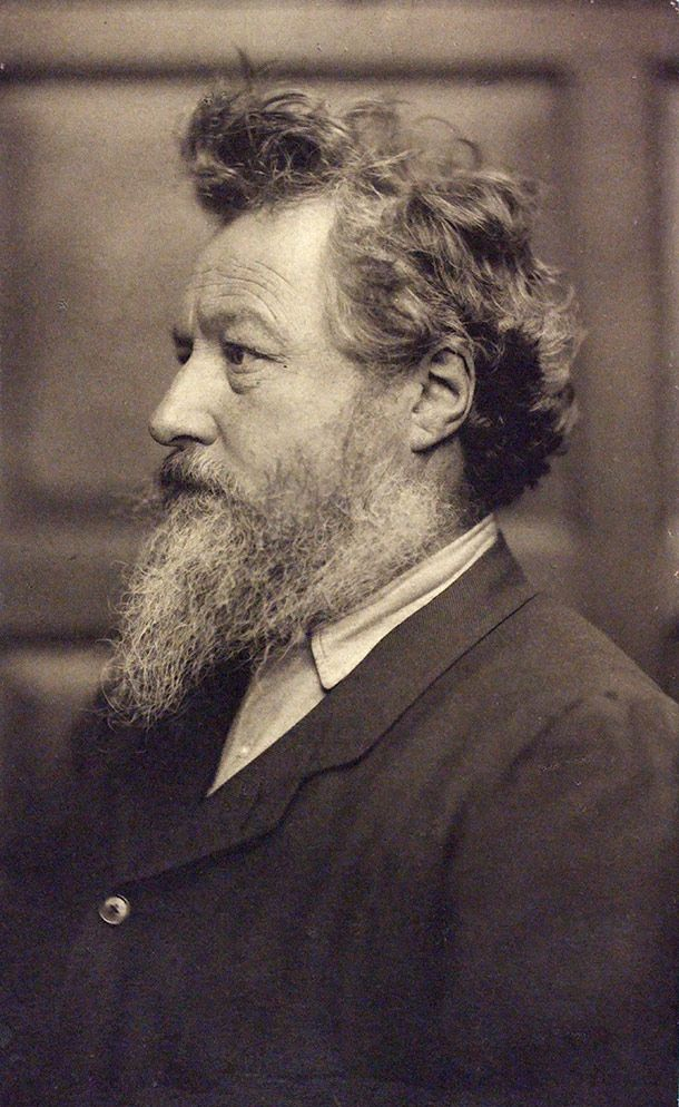 William Morris, English craftsman, poet and  socialist was born on this day 24th March, 1834. His designs for furniture, stained glass, wallpaper and other decorative products revolutionized Victorian taste. William Morris, photograph by Frederick Hollyer, 1884, platinum print. Museum no. 7717-1938, © Victoria and Albert Museum, London
