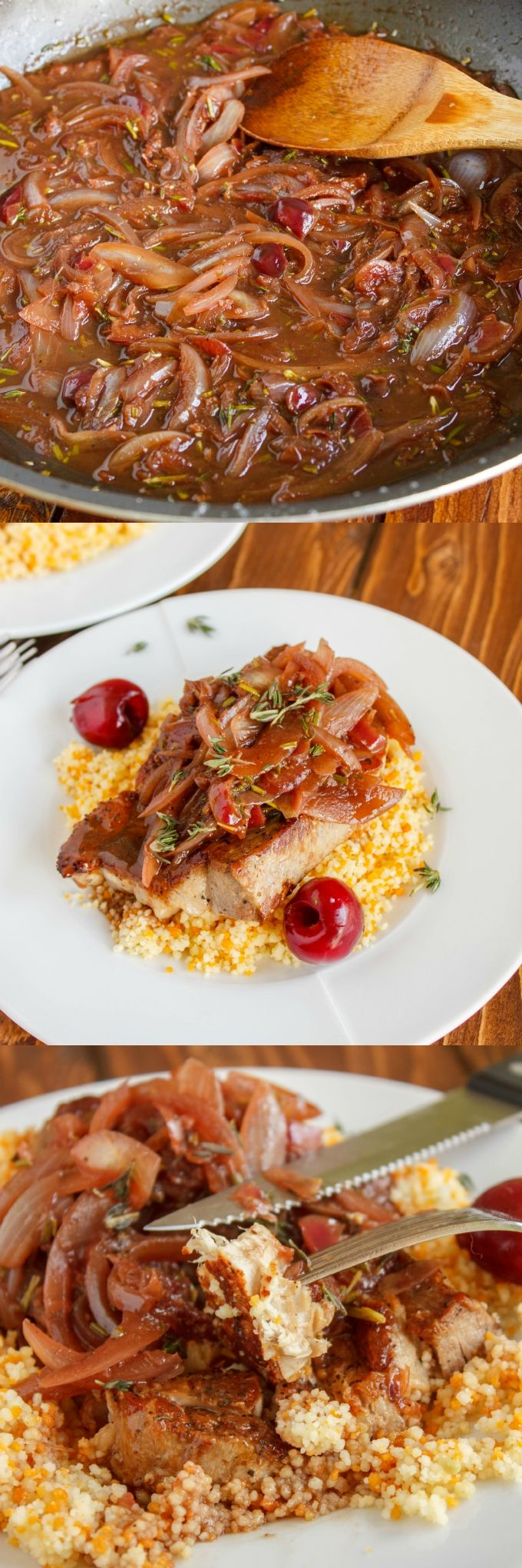 Pan-Fried Pork Chops with a Cherry and Onion Sauce 1