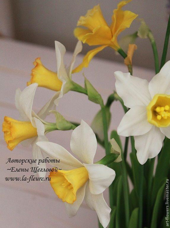 Нарциссы (холодный Фарфор, porcelana). Автор - Елена Щеглова
