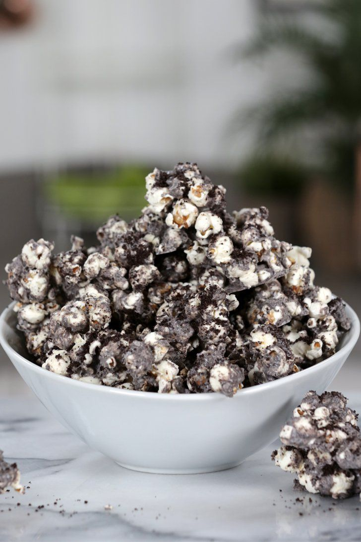 Upgrade your regular ol' popcorn with a cookies and cream coating! Sweet and salty has never tasted so good.