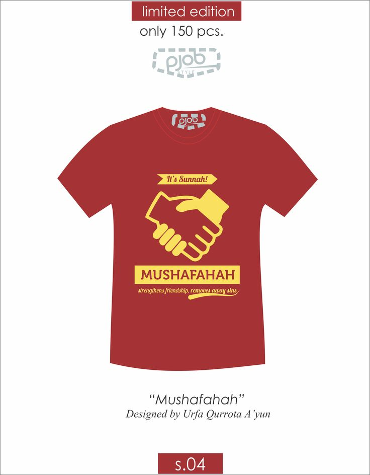 """Shaking hand with your brother erasing your sin. So, when you meet with your brother, give salam, and shake his hand.. Product specification: Theme : """"Mushafahah"""" by Urfa Qurrota A'yun Code :S.04 Material: Cotton combed 24S Paint material : Plastisol Price : IDR 85 K Long sleeve and size >XL : plus IDR 7K Open Reseller for whole indoneisan region Special price for reseller : IDR 65 K/ pcs (minimum order 15 pcs/design) Contact : 0898 6126 303 (Liliek; Kakak Marketing)"""