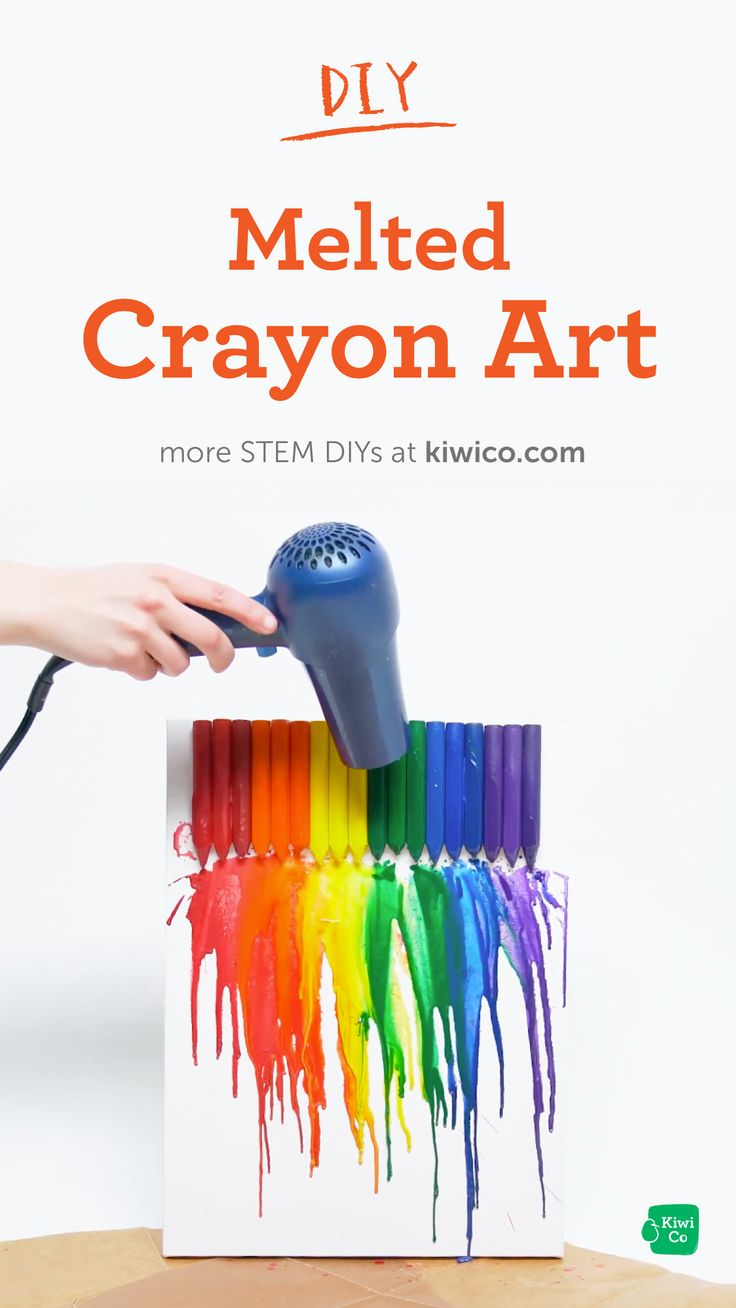 Make a beautiful rainbow design with this melted crayon art.