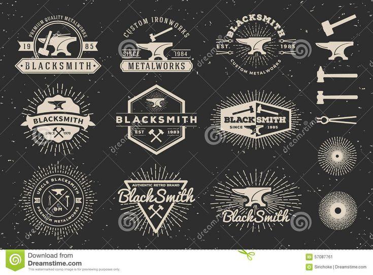 Modern Vintage Blacksmith And Metalworks Badge Logo Stock Vector - Image: 57087761