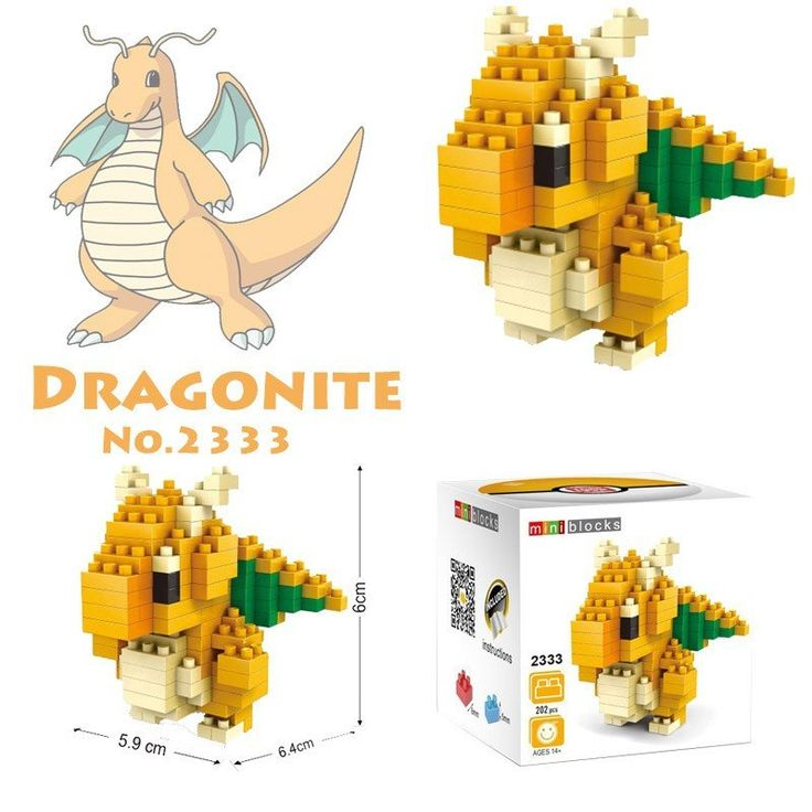 Pocket Pokemon Dragonite Figures from Building Blocks
