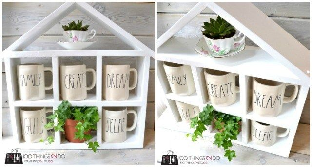 Easy Building Plans For This Cute Diy Coffee Mug Shelf House Shelf Great For Mugs Cups Toys Or Even As An Herb Garden Diy Coffee Hanging Mugs Coffee Mugs