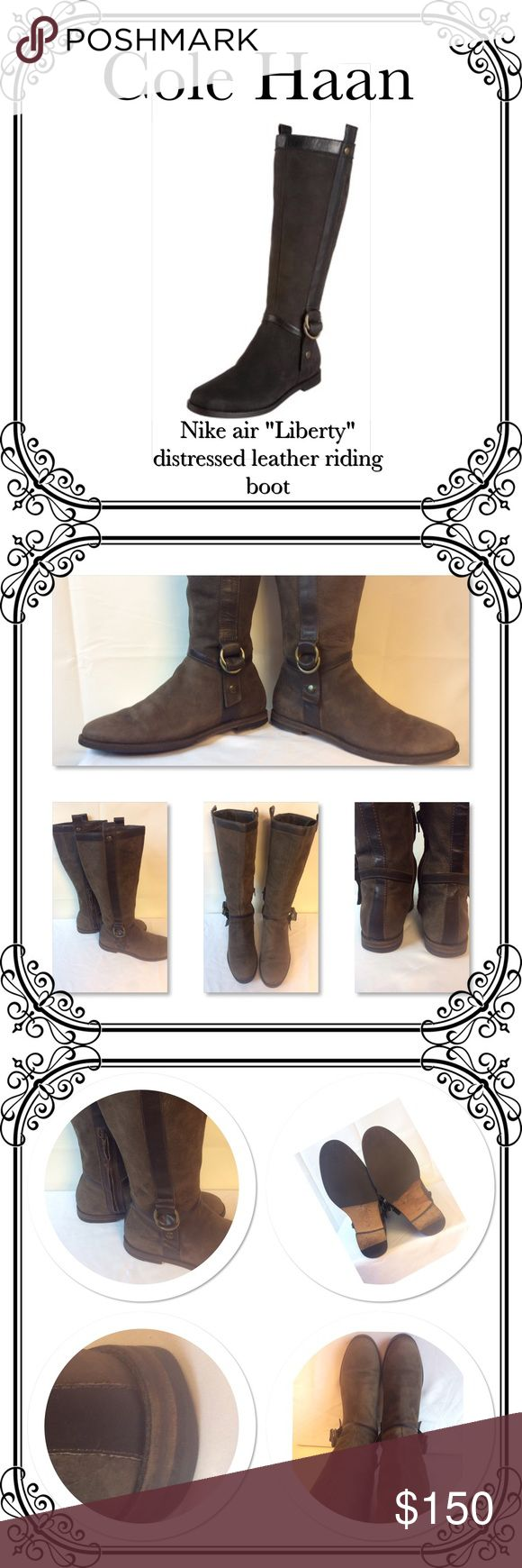 """COLE HAANS BOOTS + Free Dress⚫️ EUC/A classic Americana Cole Haan boot with lighly  distressed leather with tonal trim. Concealed nike air technology for maximun comfort & support. Round toe, pull-on style with zipper ay the inside ankle. Approx, boot shaft height 15"""". In excellent condition, worn twice.  It's a sold out at the department stores, like Nordstrom, Neiman's, and saks.. no box Cole Haan Shoes Over the Knee Boots"""