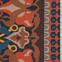 Brown Multi Baroque Print Challis Item Number: 41373X fashionfabricsclub