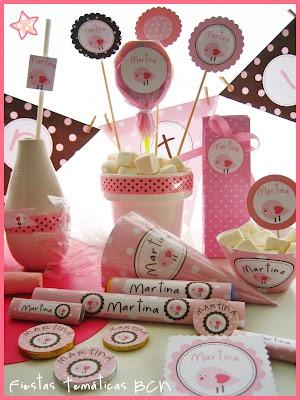 golosinas personalizadas - pink bird printable party kit