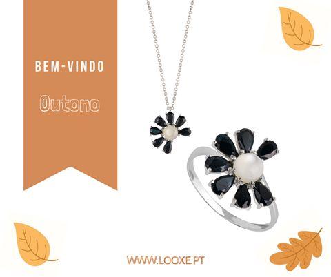 """""""Outono é outra primavera, cada folha uma flor."""" Albert Camus  http://bit.ly/2cZrfpm  COL5125B / ANL5125B  #looxe #ouro #colar #anel #ourobranco #outono #joias"""
