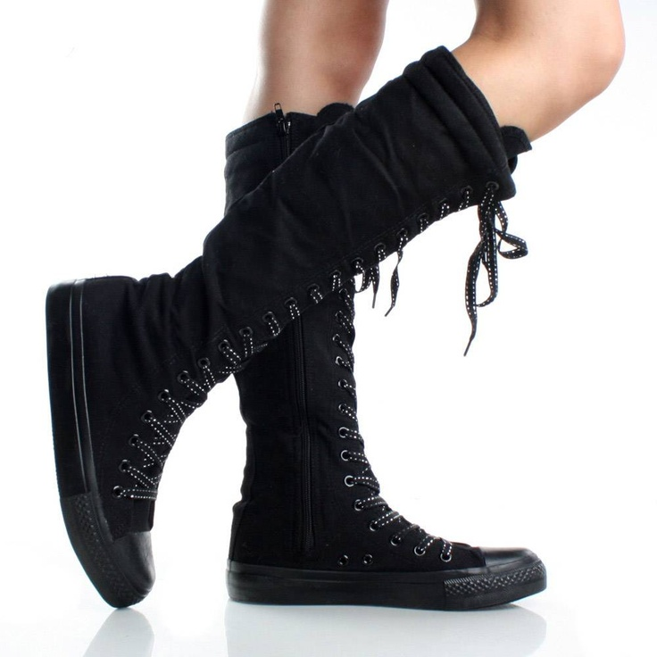 Black-Canvas Casual Lace Up Sneakers Womens Flat Knee High BootsFlats Women, Canvas Sneakers, Knee High Boots, Boots Canvas, Black Laces, Knee Highs, Sneakers Women, Women Flats, Skating Shoes