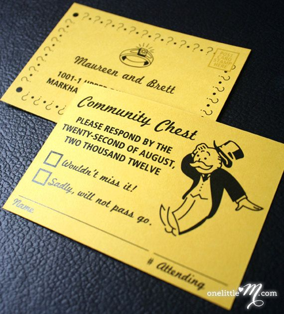 Pocket Monopoly  Monopoly Board Game Themed Wedding by oneLittleM, $9.00