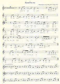 "diegosax: Standby me de Ben E. King Sheet Music. Versión de John Lennon. Acordes y partitura. BSO de Cuenta Conmigo. ""Playing For Change: Peace Through Music"". Paz a través de la música. Música para la Paz. Canciones de Buena Onda"
